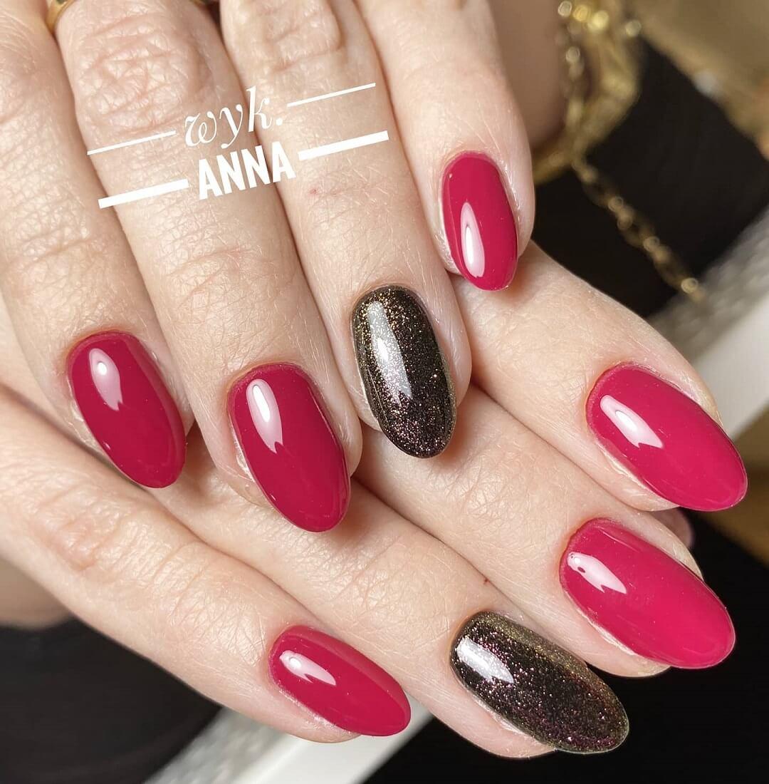 Manicure białołęka paznokci w kolorze czerwonym i czarnym